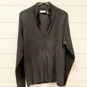 DKNY JEANS Zip Front Cotton Charcoal XL Sweater